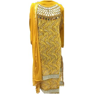 Surat Tex Golden Yellow Colored Faux Georgette Embroidered Party Wear Semi-Stitched Salwar Suit-J998DLC5003