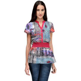 Tunic Nation Women's Printed Poly Crepe V-Neck Top