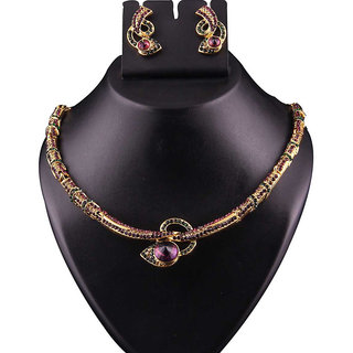 Kriaa by JewelMaze Zinc Alloy Gold Plated Purple And Green Austrian Stone Necklace Set-AAA0714