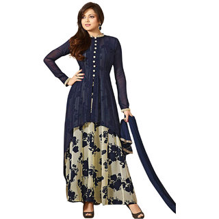 Surat Tex Blue   Cream Colored Georgette Printed Party Wear Semi-Stitched Salwar Suit-K1DLC5038