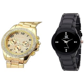 iik Black colloction And paidu Golden Combo of 2 Stylish Anolog Watches for Mens by  Savan Retails
