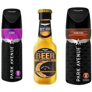 Park Avenue Storm, Horizon,Damage free Beer Shampoo Combo Set (Set of 3)