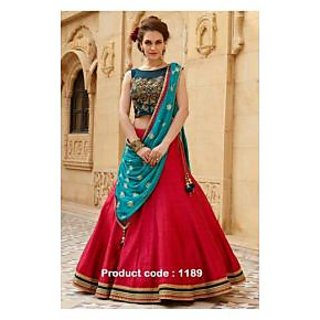sareeka sarees red bhagalpuri silk semi stitched lehengs