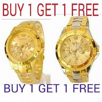 KAYRA FASHION Rosra Silver Gold Watch - Buy One Get 1 Free