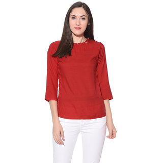 Xniva Red Solid Round Neck Long Sleeve Nylon Top