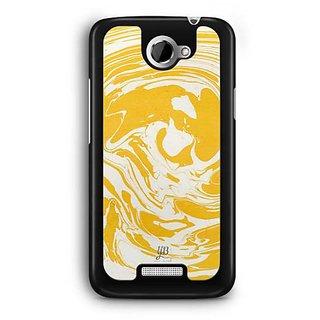 YuBingo Yellow White Marble Finish (Plastic) Designer Mobile Case Back Cover for HTC One X