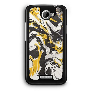 YuBingo Black Yellow Marble Finish (Plastic) Designer Mobile Case Back Cover for HTC One X