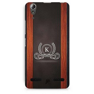 YuBingo Monogram with Beautifully Written Wooden and Leather (Plastic) Finish letter K Designer Mobile Case Back Cover for Lenovo A6000 / A6000 Plus