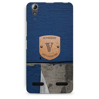YuBingo Monogram with Beautifully Written Wooden and Metal (Plastic) Finish letter V Designer Mobile Case Back Cover for Lenovo A6000 / A6000 Plus