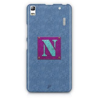 YuBingo Monogram with Beautifully Written Jeans and Girly Leather Finish letter N Designer Mobile Case Back Cover for Lenovo A7000 / K3 Note