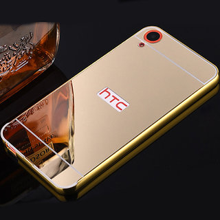 MobileMaxx Mirror Back Gold Cover Case Metal Frame For HTC Desire 626 626S