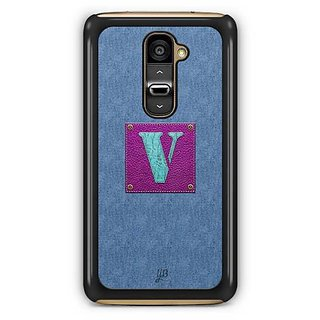 YuBingo Monogram with Beautifully Written Jeans and Girly Leather Finish letter V Designer Mobile Case Back Cover for LG G2