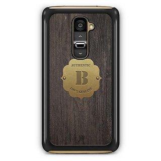 YuBingo Monogram with Beautifully Written Wooden and Metal (Plastic) Finish letter B Designer Mobile Case Back Cover for LG G2