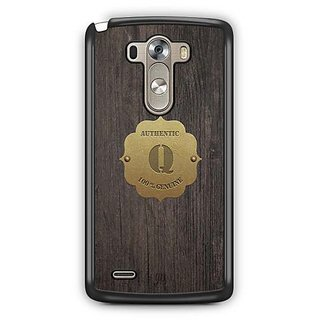 YuBingo Monogram with Beautifully Written Wooden and Metal (Plastic) Finish letter Q Designer Mobile Case Back Cover for LG G3