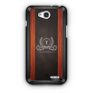 YuBingo Monogram with Beautifully Written Wooden and Leather (Plastic) Finish letter T Designer Mobile Case Back Cover for LG L90