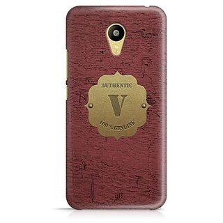YuBingo Monogram with Beautifully Written Wooden and Metal (Plastic) Finish letter V Designer Mobile Case Back Cover for Meizu M3
