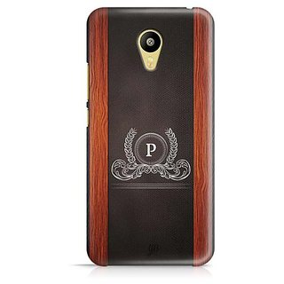 YuBingo Monogram with Beautifully Written Wooden and Leather (Plastic) Finish letter P Designer Mobile Case Back Cover for Meizu M3