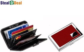 Stealodeal Leather Piece Red Metal With Multicolor Plastic Aluma 6 Card Holder  (Set of 2, Red, Multicolor)