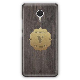 YuBingo Monogram with Beautifully Written Wooden and Metal (Plastic) Finish letter V Designer Mobile Case Back Cover for Meizu M3 Note