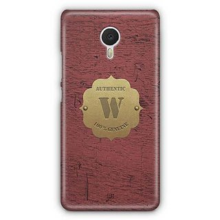YuBingo Monogram with Beautifully Written Wooden and Metal (Plastic) Finish letter W Designer Mobile Case Back Cover for Meizu M3 Note
