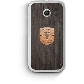 YuBingo Monogram with Beautifully Written Wooden and Metal (Plastic) Finish letter V Designer Mobile Case Back Cover for Motorola E