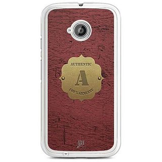 YuBingo Monogram with Beautifully Written Wooden and Metal (Plastic) Finish letter A Designer Mobile Case Back Cover for Motorola E2