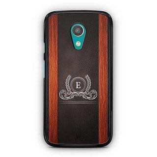YuBingo Monogram with Beautifully Written Wooden and Leather (Plastic) Finish letter E Designer Mobile Case Back Cover for Motorola G2