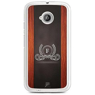 YuBingo Monogram with Beautifully Written Wooden and Leather (Plastic) Finish letter F Designer Mobile Case Back Cover for Motorola E2