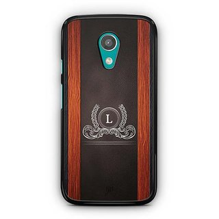YuBingo Monogram with Beautifully Written Wooden and Leather (Plastic) Finish letter L Designer Mobile Case Back Cover for Motorola G2