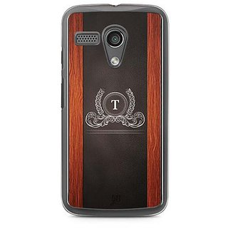 YuBingo Monogram with Beautifully Written Wooden and Leather (Plastic) Finish letter T Designer Mobile Case Back Cover for Motorola G