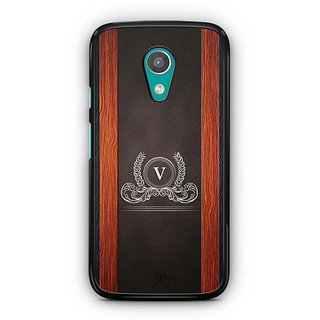 YuBingo Monogram with Beautifully Written Wooden and Leather (Plastic) Finish letter V Designer Mobile Case Back Cover for Motorola G2