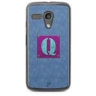 YuBingo Monogram with Beautifully Written Jeans and Girly Leather Finish letter Q Designer Mobile Case Back Cover for Motorola G