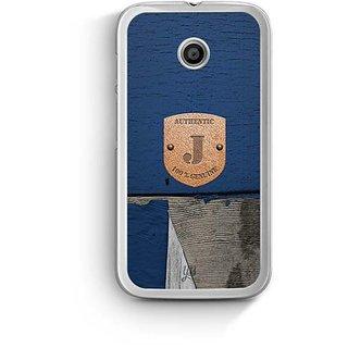 YuBingo Monogram with Beautifully Written Wooden and Metal (Plastic) Finish letter J Designer Mobile Case Back Cover for Motorola E