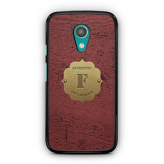 YuBingo Monogram with Beautifully Written Wooden and Metal (Plastic) Finish letter F Designer Mobile Case Back Cover for Motorola G2