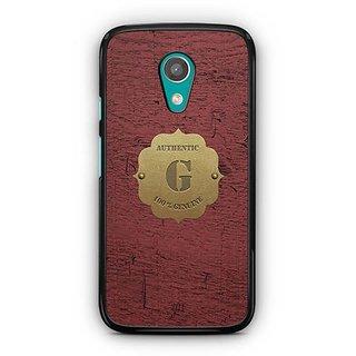 YuBingo Monogram with Beautifully Written Wooden and Metal (Plastic) Finish letter G Designer Mobile Case Back Cover for Motorola G2