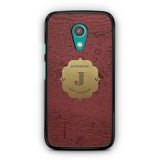 YuBingo Monogram with Beautifully Written Wooden and Metal (Plastic) Finish letter J Designer Mobile Case Back Cover for Motorola G2