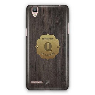 YuBingo Monogram with Beautifully Written Wooden and Metal (Plastic) Finish letter Q Designer Mobile Case Back Cover for Oppo F1 / A35