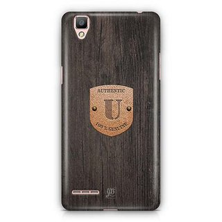 YuBingo Monogram with Beautifully Written Wooden and Metal (Plastic) Finish letter U Designer Mobile Case Back Cover for Oppo F1 / A35