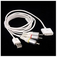 AV Cable USB Charging Cable For IPhone 3G V2.2 (White)
