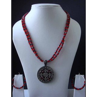 Beautiful Multi Color Dual Layer Necklace With Sizzling Pendant