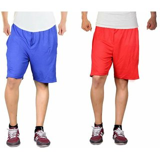 Light blue and red combo sports shorts