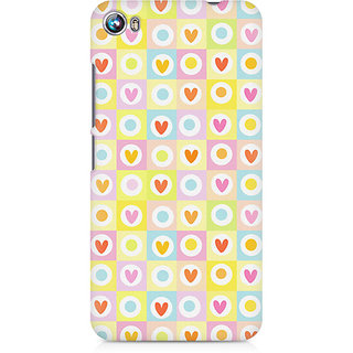 CopyCatz Cute Hearts in Squares Premium Printed Case For Micromax Canvas Fire 4 A107