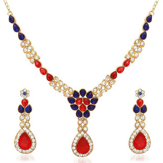 Kriaa by JewelMaze Zinc Alloy Gold Plated Multicolor Austrian Stone  Kundan Necklace Set-AAA0727