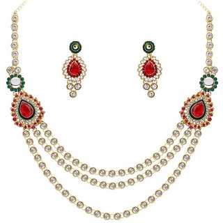 Kriaa by JewelMaze Zinc Alloy Gold Plated Maroon And Green Austrian Stone Necklace Set-AAA0734