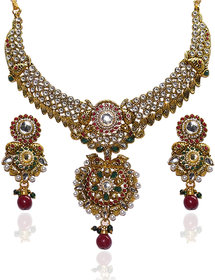 Kriaa by JewelMaze Gold Plated Multicolor Alloy Necklace Set For Women