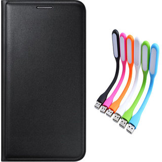 Snaptic Limited Edition Black Leather Flip Cover for Samsung Galaxy On7 with USB LED Lamp