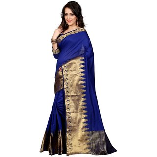Thankar online trading Gold & Blue Polyester Printed Saree With Blouse