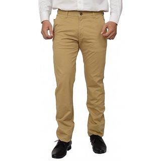 Khaki Blue Khaki Regular Flat Trousers