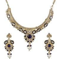 Kriaa by JewelMaze Zinc Alloy Gold Plated Multicolor Austrian Stone  Kundan Necklace Set-AAA0751
