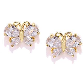 Rubans Gold-Toned & White Embellished Stud Earring